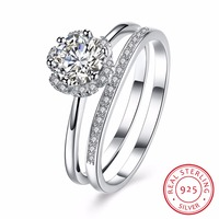 Women S Luxury Full AAA CZ Crystal 925 Sterling Silver Rings For Wedding Engagement Propose Elegant