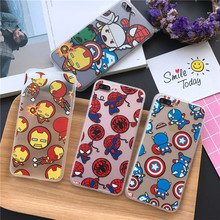 Fundas Phone Cases for iPhone 8 7 6 6S Plus SE 5 5S X Case Protector Cover Cartton Avengers Ironman Spiderman Captain America(China)