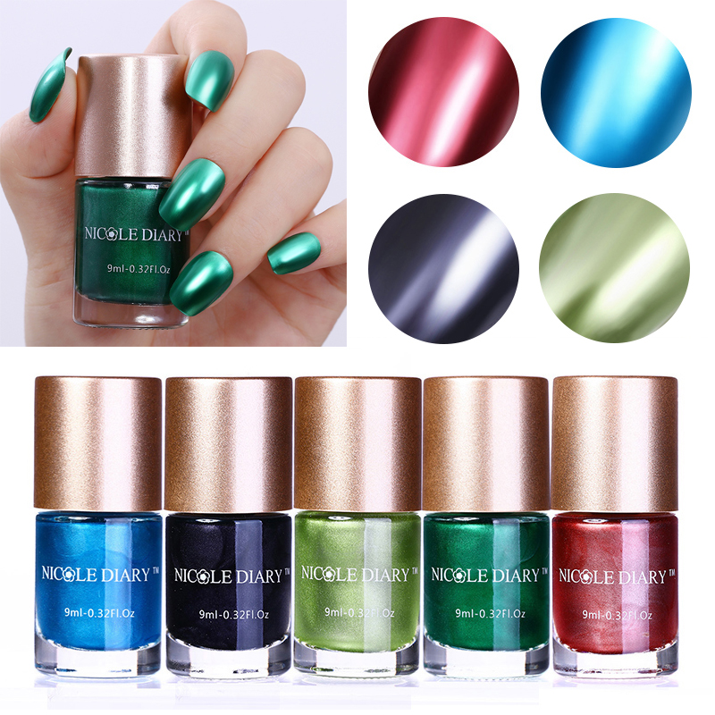 NICOLE DIARY 9ml Metallic Nail Polish Mirror Effect Red Blue Green ...