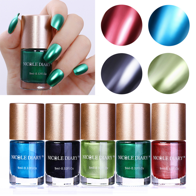 NICOLE DIARY 9ml Metallic Nail Polish Mirror Effect Red Blue Green Black Varnish Lacquer