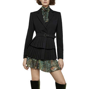 2018 Fall Vintage Printed 2 Piece Outfits for Women Long Sleeve Turn-down Collar Pleated Skirt Splicing Coat Dress Suit