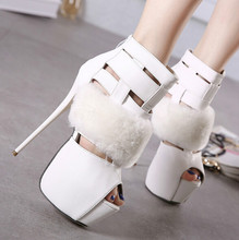 16CM super-high heels high water table T station nightclub sexy shoes 2016 new European and American fine with hollow sandals