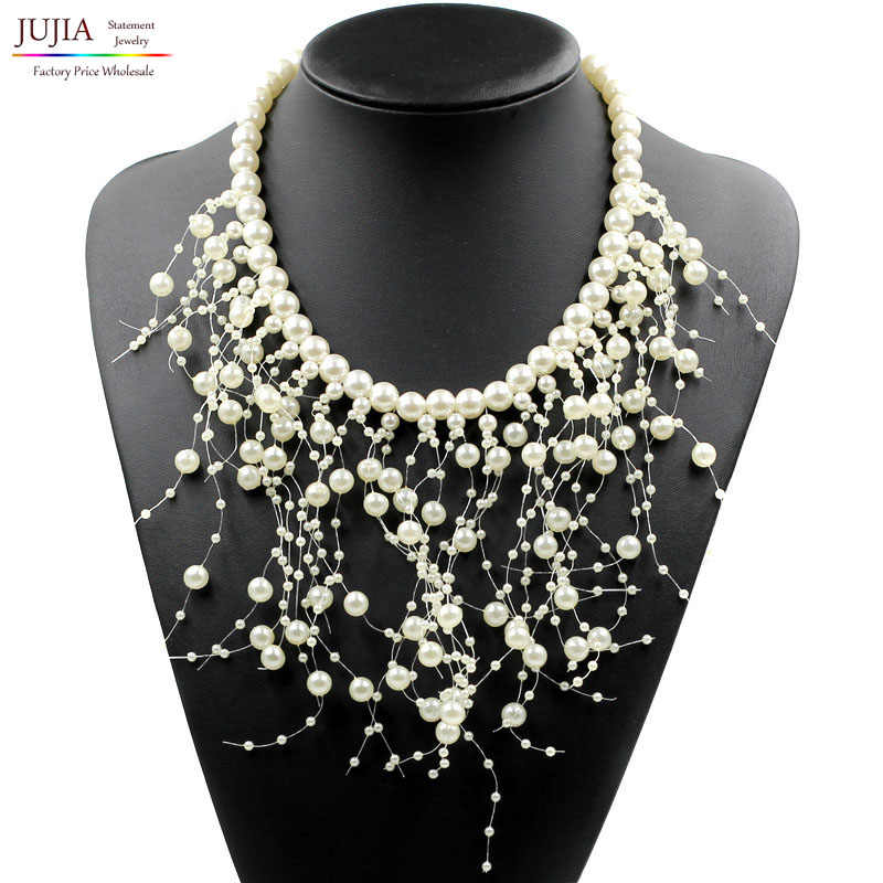 2017 New fashion simulated pearl necklace Z bib collar necklace & pendant luxury choker tassel Necklace statement necklace
