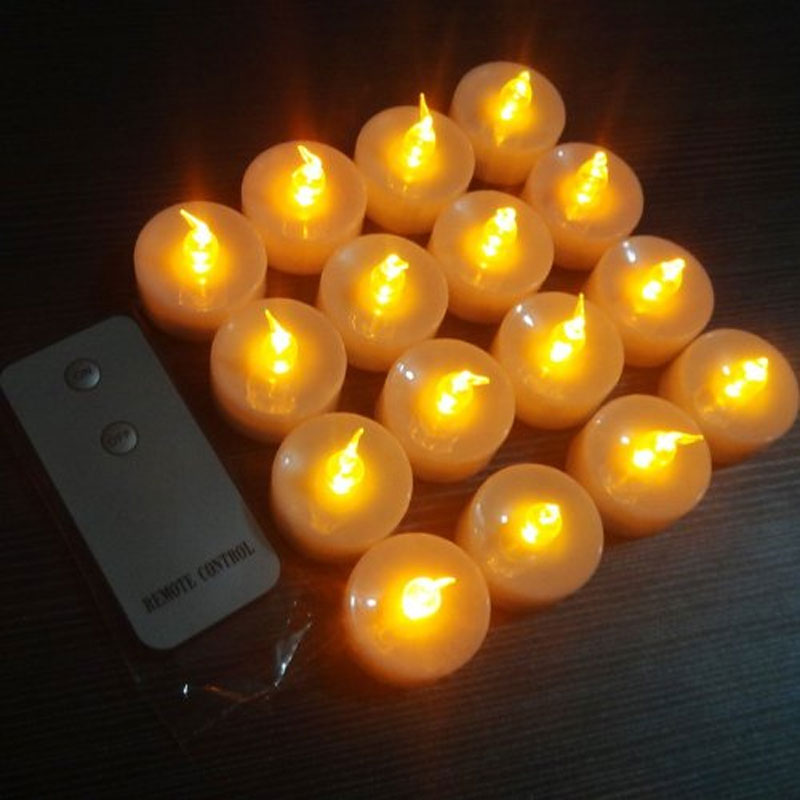 pack of 16 flameless yellow remote control led tea lights battery operated led candle remote led. Black Bedroom Furniture Sets. Home Design Ideas