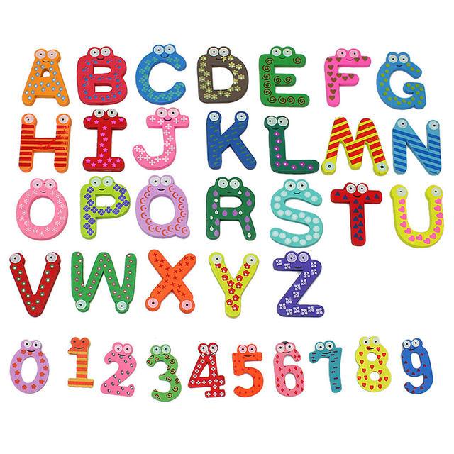 36x Bunte Cartoon Design Holz Buchstaben Zahlen Kühlschrank