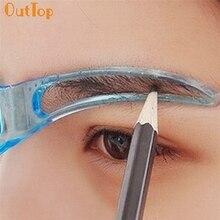 OutTop Colorwomen profesional herramienta de belleza maquillaje aseo dibujo ceja plantilla 160913 envío de la gota S28 HW