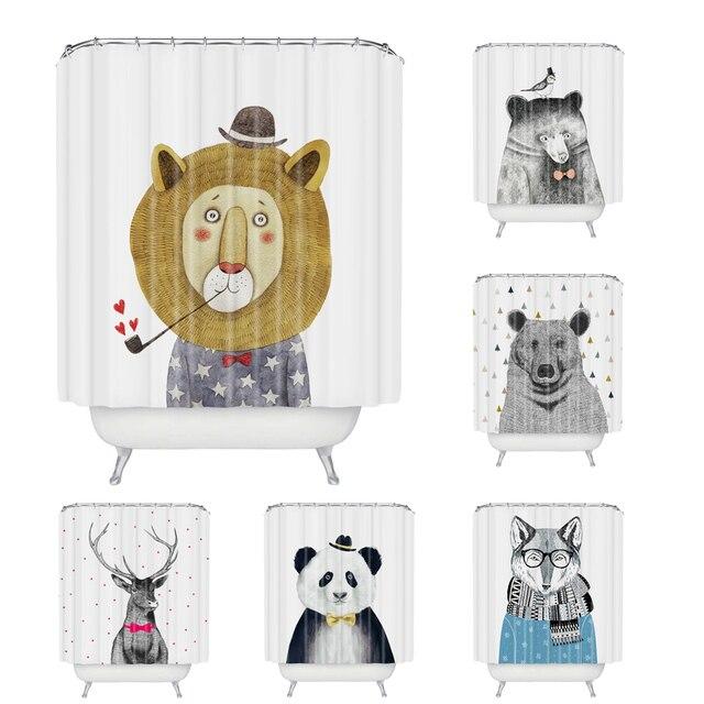 Wholesale Custom Cartoon Animal Shower Curtain Polyester Fabric Waterproof Bath Curtain 180CM Shower Curtain Bath Curtain