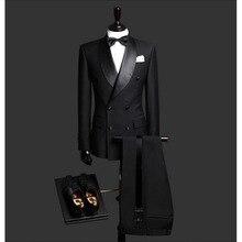 사용자 정의 만든 슬림 맞는 블랙 2 조각 망 블레 이저 더블 브레스트 양복 남자 웨딩 정장 신랑 턱시도 남자 (자 켓 + 바지 + 넥타이)