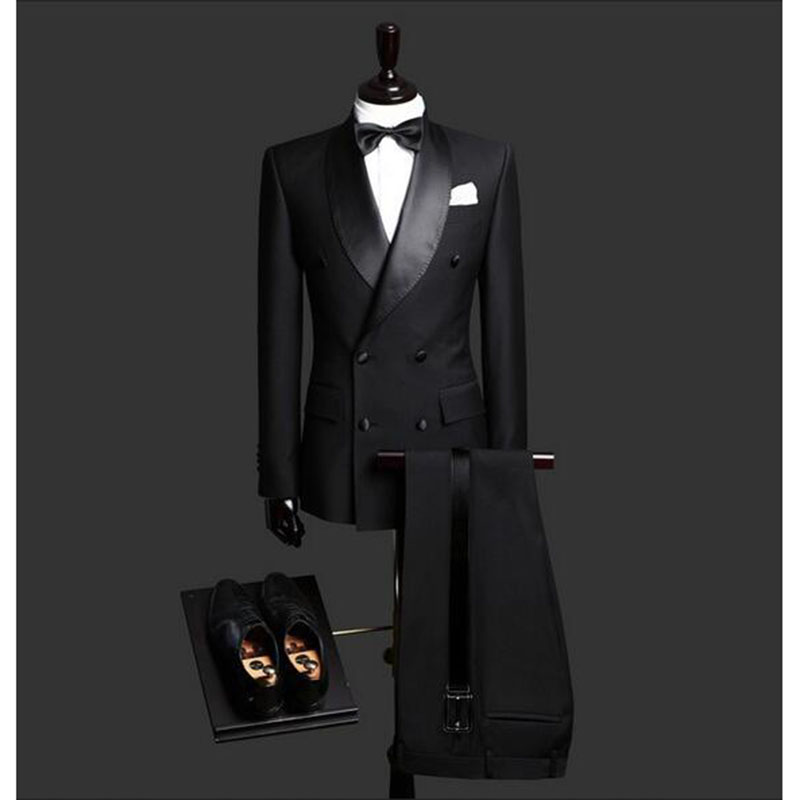 Custom Made Slim Fit Black 2 Piece Mens Blazer Double Breasted Suit Men Wedding Suits Groom Tuxedos For Men (Jacket+Pants+Tie)-in Suits from Men's Clothing