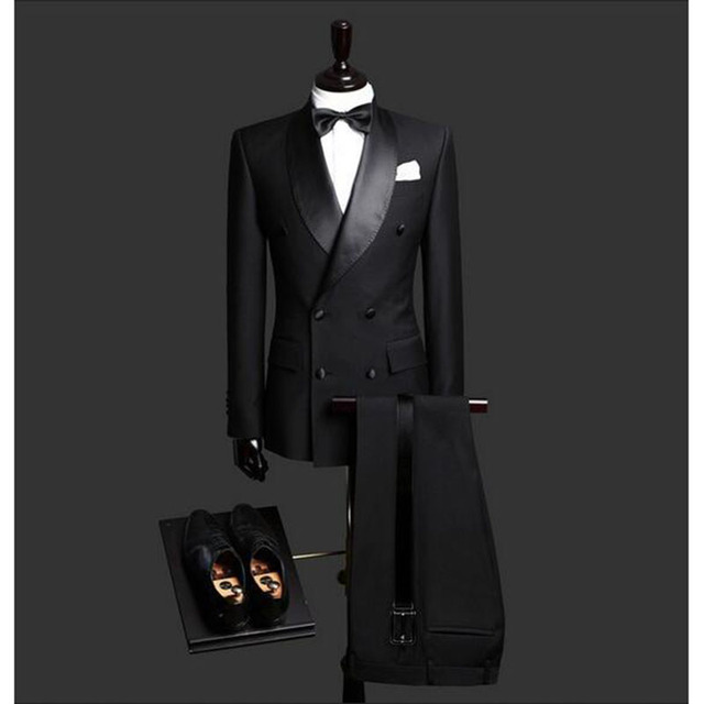6a97e14d5a1d Custom Made Slim Fit Black 2 Piece Mens Blazer Double Breasted Suit Men  Wedding Suits Groom Tuxedos For Men (Jacket+Pants+Tie)