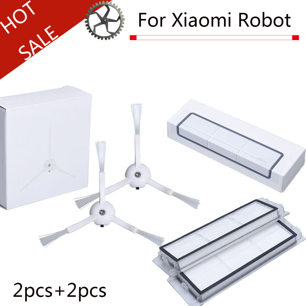 Высокое качество 2 x боковая щетка + 2x HEPA фильтр для xiaomi вакуум 2 roborock s50 xiaomi roborock xiaomi Mi робот