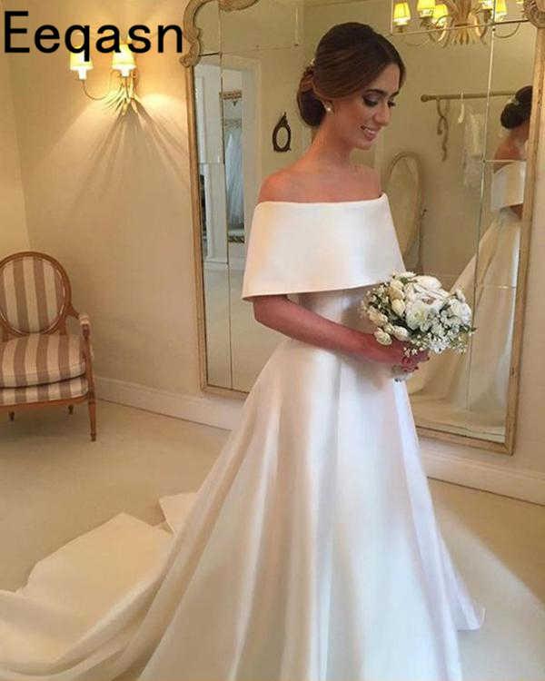 Vintage כבוי כתף חתונת שמלת 2018 אורך רצפת קו סאטן שנהב שרוולים כלה שמלה בתוספת גודל vestido novia