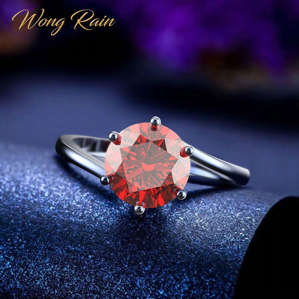 Wong Rain Classic 100% 925 Sterling Silver Created Moissanite Gemstone Birthstone Wedding Engagement Ring Fine Jewelry Wholesale