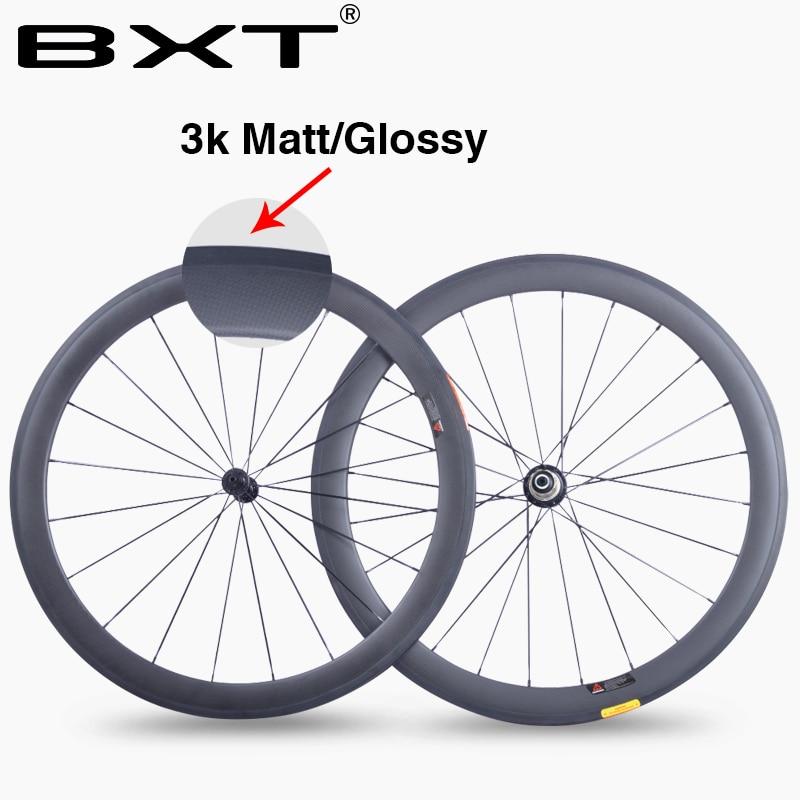 BXT chine 50mm 700C roues de vélo de Route en carbone 23mm largeur 3 k mat brillant chinois En fiber de Carbone vélo cyclisme roues de course