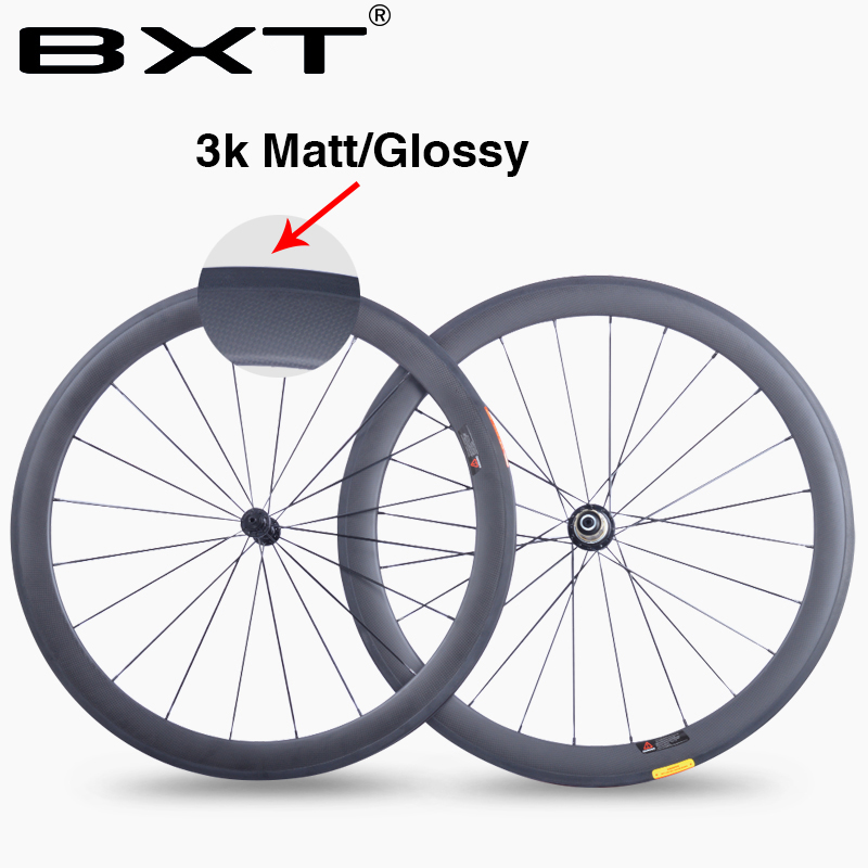 BXT china 50mm 700C carbon Road bike wheels 23mm width 3K matte glossy chinese Carbon fiber bicycle cycling racing wheelset smileteam 700c 50mm clincher carbon road bike wheels 23mm width 3k matte carbon racing bicycle wheelset powerway r13 r36 hubs