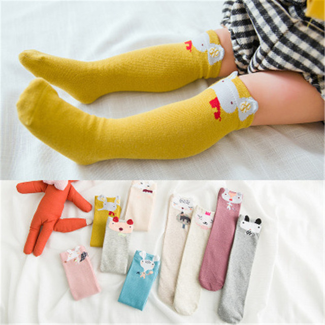 2a197379761 0-8Y Baby Kid Socks Girl Children Cute Princess Solid Color Tie Patchwork Girls  Knee High Long Socks Girls Knee Socks