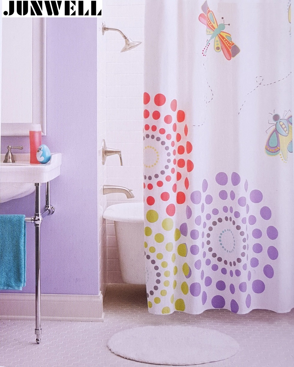 100% Polyester Fabric Shower Curtain waterproof Floral printing with embroidery washable Bathroom Shower Curtains 70*72 1PC/LOT