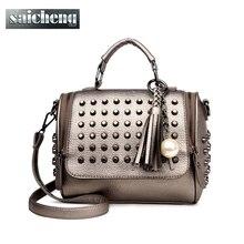 Luxus Handtaschen Frauen Taschen Designer-handtaschen Hohe Qualität Pu-leder Tasche Berühmte Marke Retro Umhängetasche Niet Sac ein haupt