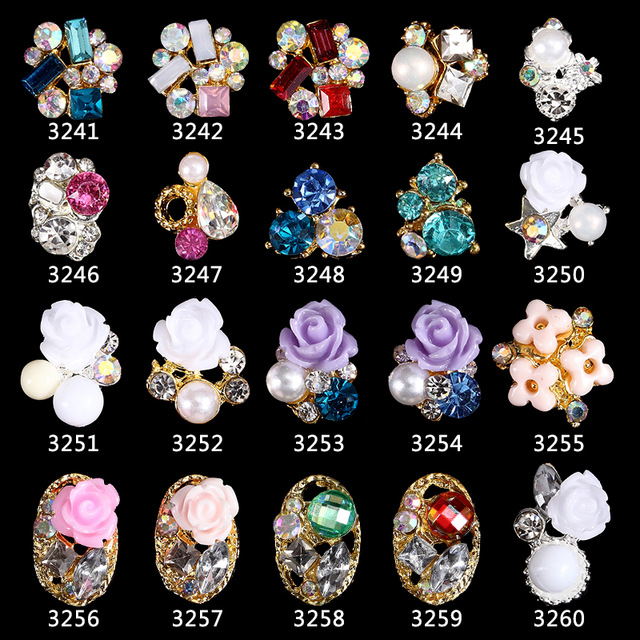 100pcs New 3D Nails Accessoires Pearls Diamond Glitter Alloy Nail Art Decorations Rose Flower Nail Jewelry Supplies 3241 3260 in Rhinestones Decorations from Beauty Health