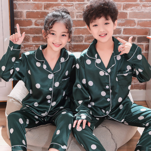WAVMIT 2019 Autumn Winter Long Sleeve Kids Sleepwear Set Silk Pajamas Set Boys Pyjamas Sets For Kids Nightwear Girls Pajamas
