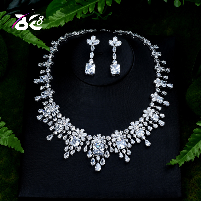 Be 8 Luxury Sparkling Brilliant AAA Cubic Zirconia Necklace Earrings Wedding Bridal Jewelry Sets Dress Accessories Bijoux S393Be 8 Luxury Sparkling Brilliant AAA Cubic Zirconia Necklace Earrings Wedding Bridal Jewelry Sets Dress Accessories Bijoux S393
