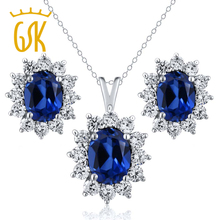 GemStoneKing 925 Sterling Silver Vintage Jewelry Sets For Women Wedding 5.24 Ct Oval Blue Sapphire Pendant and Earrings Set