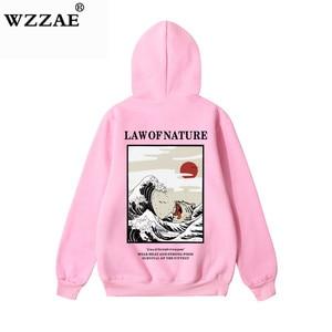 Image 2 - Wzzae japonês bordado engraçado gato onda impresso velo hoodies 2020 inverno japão estilo hip hop camisolas casuais streetwear