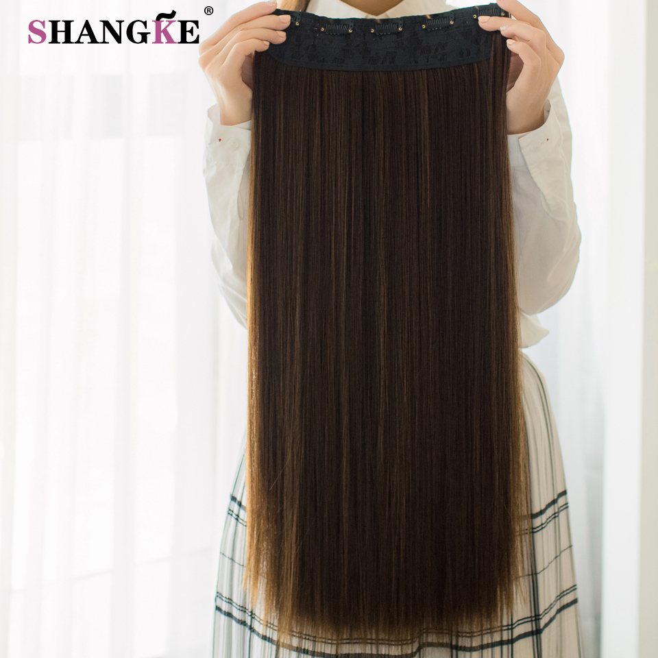 ALI shop ...  ... 32824919504 ... 5 ... SHANGKE 80 CM Long Straight Women Clip in Hair Extensions Heat Resistant Synthetic Hair Piece Black Dark brown Hairstyle ...