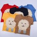 INS primavera Europa padrão Leão dos desenhos animados camisola da menina do menino das Crianças de manga longa roupas do bebê do algodão tricô bonito top 5 cores