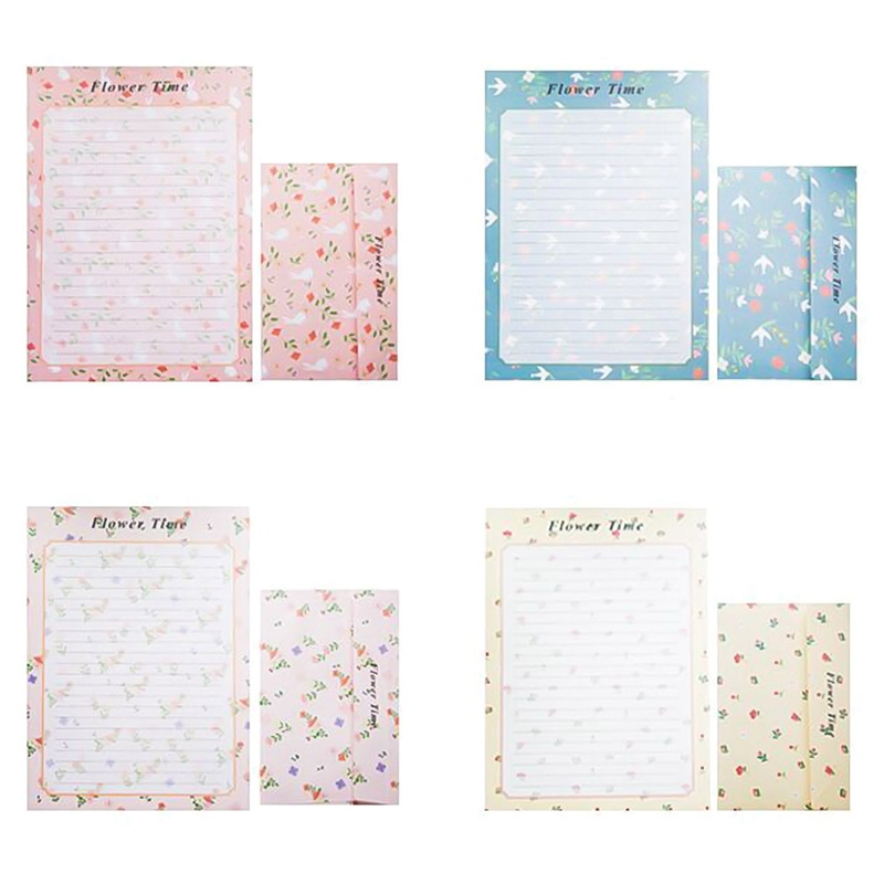 6 Letter Paper+3 Envelopes Set Creative Retro Cartoon Small Floral Sweets Envelope Letter Set Office School Supplies