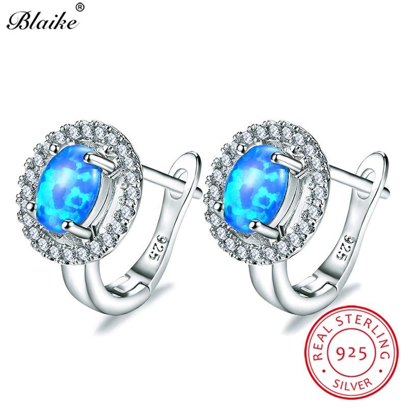 Blaike 925 Sterling Silver Oval Stone Blue Fire Opal Hoop Earrings For Women  White Zircon Birthstone d6ff0448b401