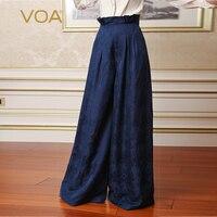 VOA тяжелый шелк плюс Размеры 5XL свободные брюки Для женщин Высокая талия широкие штаны Темно синие рюшами печати брюк Повседневное KLH00201