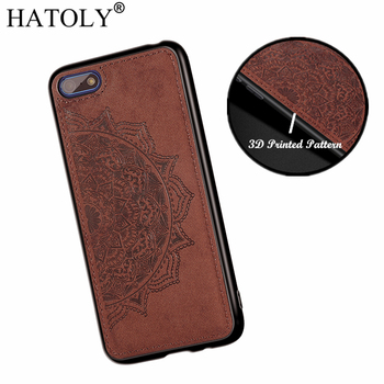 HATOLY 3D Flower Case for Huawei Y5 Lite 2018 Case DRA-LX5 Soft Silicone Edge Fabric Hard PC Back Cover for Huawei Y5 Prime 2018 sticker