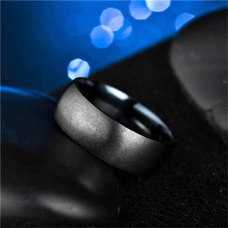 Zorcvens Fashion Pria Hitam Titanium Cincin Matte Selesai Klasik Pertunangan Anel Perhiasan untuk Pernikahan Band