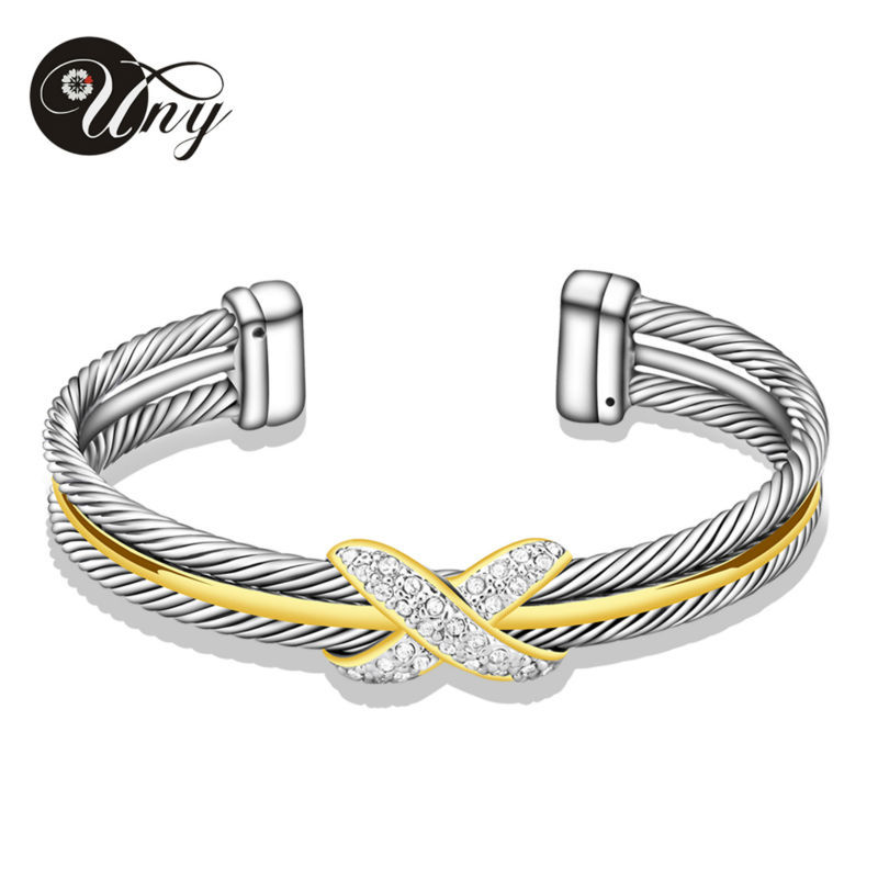 UNY Bracelet Cable Bangles Women Gift Jewelry Zircon Alloy Elegant Silver Clear Crystal cuffs Wire Bangle David Jewelry Bracelet куртка liu jo jeans w16334e0211 22222