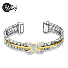 UNY Bracelet Cable Bangles Women Gift Jewelry Zircon Alloy Elegant Silver Clear Crystal cuffs Wire Bangle David Jewelry Bracelet