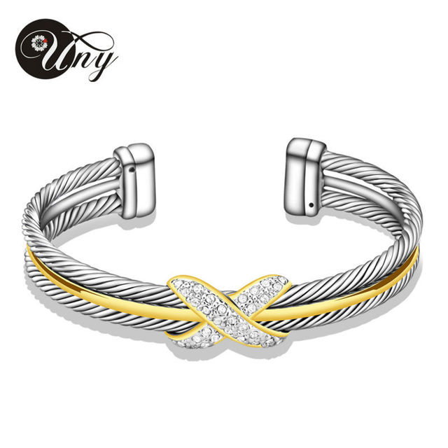 UNY Cable Bangles Womem Gift Jewelry Zircon Alloy Elegant Silver Clear Crystal Handcuffs Bracelets Wire Bangles David Jewelry