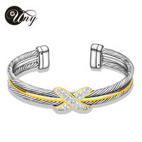 Cable Bangles Women Men Gift Jewelry Zircon Alloy Elegant Silver Clear Crystal Handcuffs Bracelets Wire Bangles