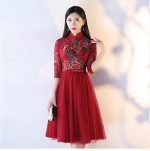 2018 New Cheongsam Lace Qipao Bridesmaid Dresses Wine Red Chinese Traditional Wedding Oriental Evening Dress Chino Tradicional