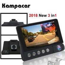 Kampacar 4,0 дюймов Автомобильный Dvr зеркало 3 камера Авто регистраторы 3 в 1 Русский регистратор заднего вида Двойной Dashcam с двумя камера s