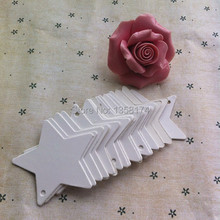 P046  6cm Five-pointed star Kraft Paper Gift Cards/Tags with Swirl Edges for Wedding Decoration Card Scrapbooking Crafts