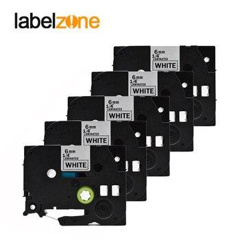 5 cintas de etiquetas tze211 de 6mm compatibles con Impresoras Brother p-touch tze-211 tz211 tz-211 tz tze 211 para etiquetadoras ptouch