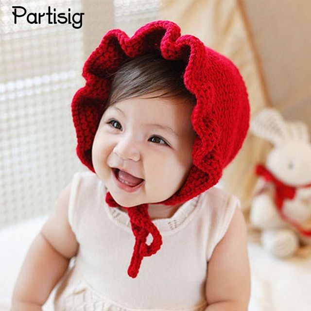 9bd41ed1c91 Baby Girl Hats Fashion Ruffled Windproof Baby Girl Caps Red Knitted  Children s Hats For Autumn Winter