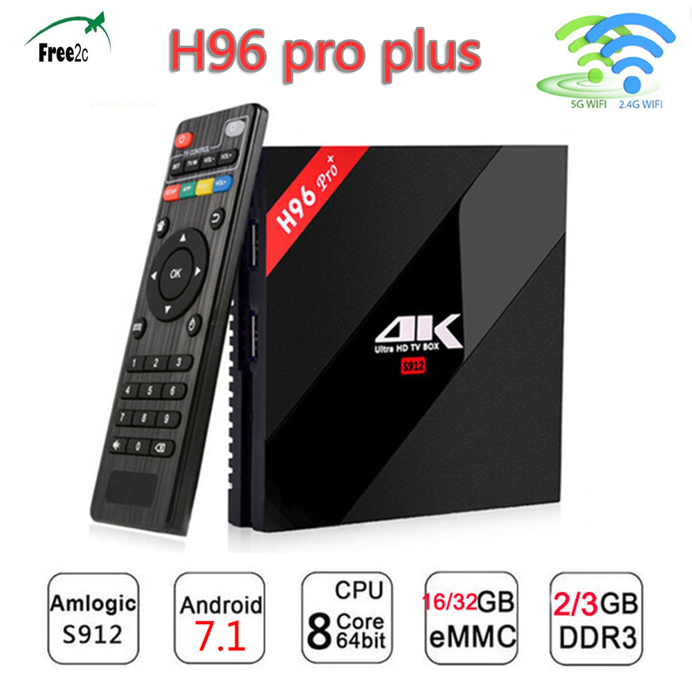 H96 PRO PLUS 1800+channels Europe IPTV Amlogic S912 Octa Core smart Android 7.1 tv box support Italy/Spain/French/Poland live TV купить