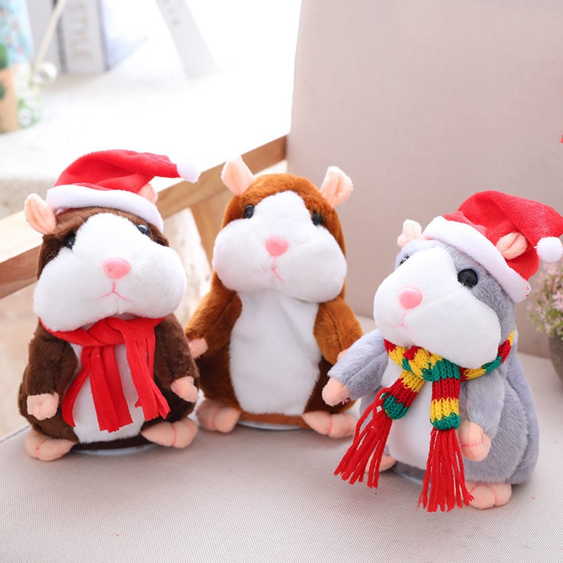 16cm Electric Talking Walking Hamster Plush Stuffed Animals Sound Recording Repeat Toys Christmas Gift For Kids Dropshipping
