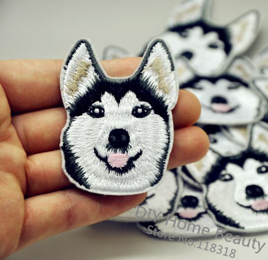 1 PCS Husky Dog Embroidered Iron on Patches for Clothing Apparel Accessories Garment Stickers Appliques Badge 4.5*5.8 CM @JJ1