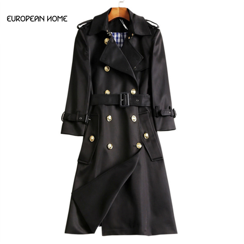 New 2019 Spring Autumn   Trench   Coat Women Clothes High Quality Plus Size Overcoat Double-breasted Windbreaker Long Coat Women