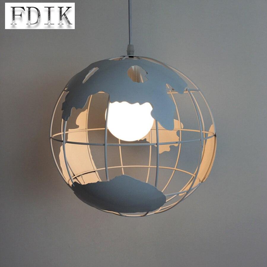Village américain rétro Globe fer net suspension lampe E27 LOFT Style industriel Restaurant Bar salle à manger décoratif pendentif lumière