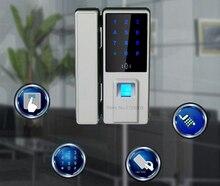 Top Biometric Fingerprint Door Lock Digital Fingerprint Password Key Lock Home Office Security Electronic Door Lock Alarm Audio
