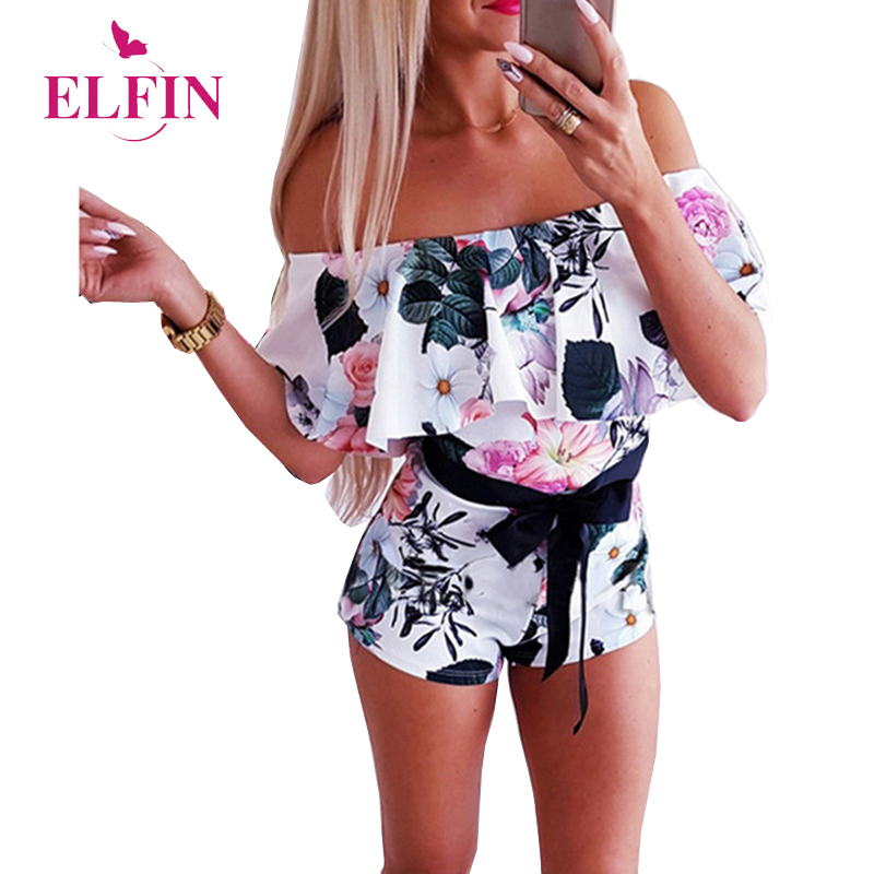 Slash Neck Bandage Bow Playsuit Women Short Sleeve Off Shoulder Vintage Boho   Jumpsuit   Rompers Ruffles   Jumpsuits   Summer SJ3123R
